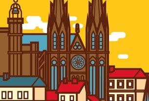 Illustration affiche Clermont-Ferrand en Auvergne avec cathédrale