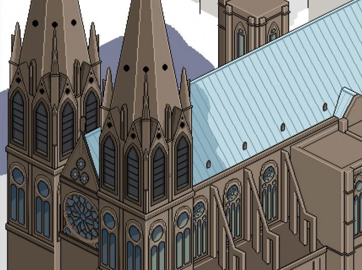 Pixel Art Clermont-Ferrand: la cathédrale