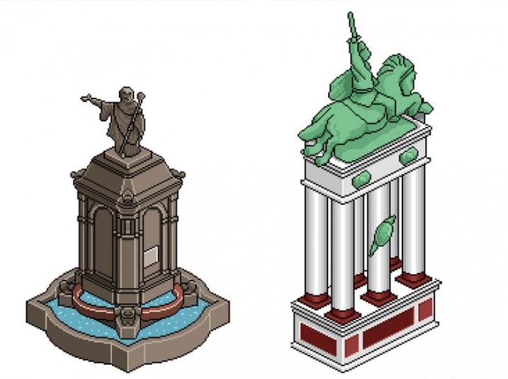 Pixel Art Clermont-Ferrand: statues de Desaix et Vercingétorix