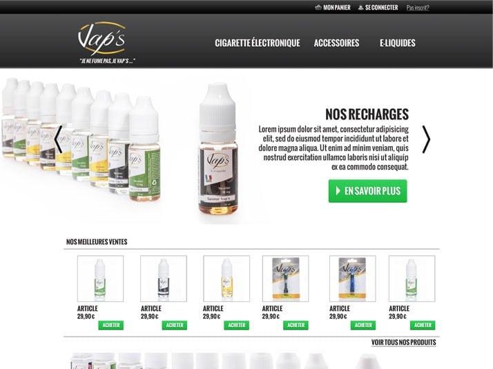 Homepage du site de vente en ligne de cigarettes électroniques Vap's