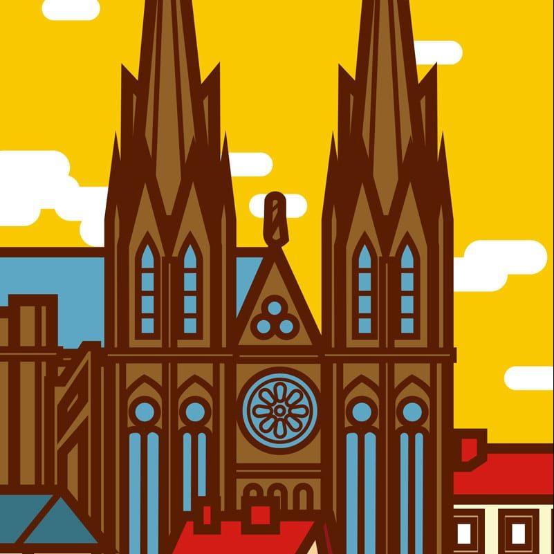 affiche cathédrale clermont ferrand jaune